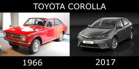 эволюция Тойоты Короллы с 1966 по 2017 гг